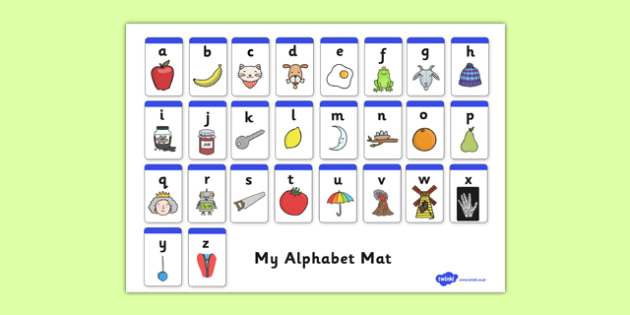 A-Z Alphabet Mat - Alphabet Mat, DfES Letters and Sounds, Letters and sounds, Letters A-Z, Learning Letters, Phase one, Phase 1 Foundation Letters, Mnemonic images
