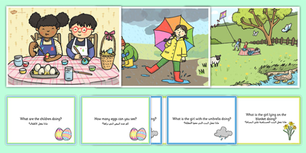 Spring Scenes and Question Cards Pack Arabic Translation - arabic, spring scenes, questions, comprehension pack