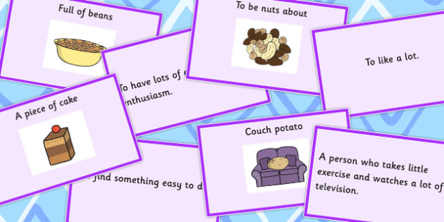 Food Idioms Matching Cards - food, idioms, matching, cards, sen