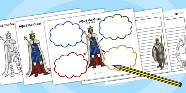 Anglo-Saxons Mind Maps and Worksheets - anglo-saxon worksheets, anglo saxon writing frames, alfred the great worksheet, battle of hastings worksheet, ks2