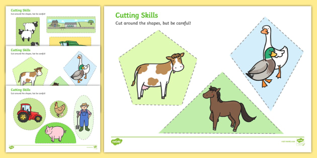 Twinkl Farm Animal Colouring Pages : Themed cutting skills worksheets cut fine motor skills