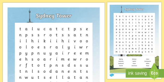 Sydney Tower Word Search-Australia - Sydney Australia, sydney tower, word search, find a word, fun, activity, spelling, vocabulary, conso