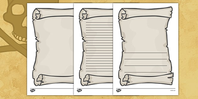 Scroll Template Word - Page border, border, Pirate, Pirates