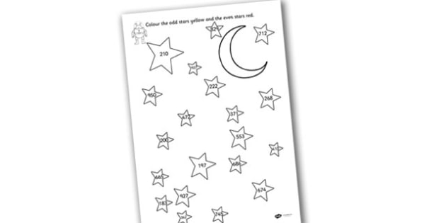 Odd and Even Colouring Stars Three Digit Numbers - odd, even