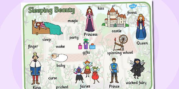 Sleeping Beauty Word Mat - sleeping beauty, keywords, word mat
