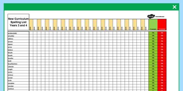 Year 3-4 Statutory Spelling Assessment Grid - assessment, grid