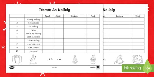Litriú, An Nollaig Activity Sheet Gaeilge
