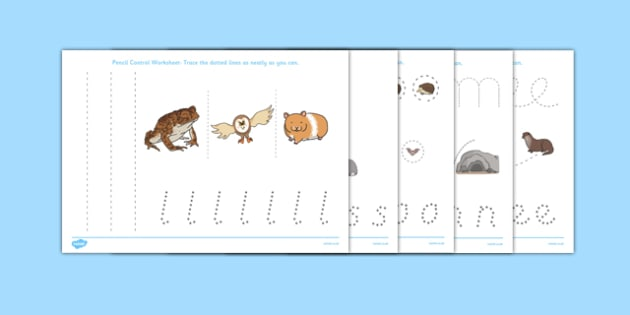 Nocturnal Animals Pencil Control Worksheets - nocturnal animals, pencil control, worksheets