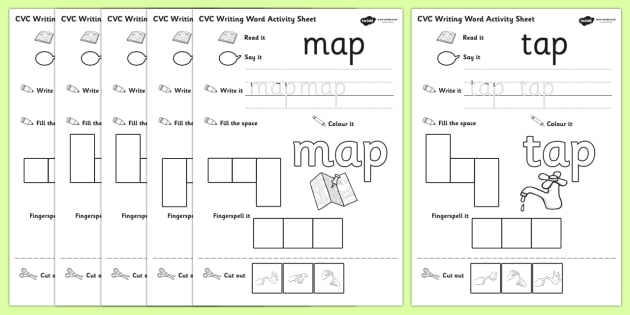 CVC Writing Word Activity Sheet Pack 'a' with British Sign Language, worksheet