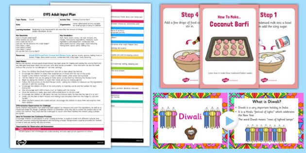 Making Coconut Barfi EYFS Adult Input Plan and Resource Pack