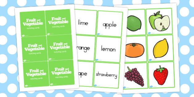 Fruit and Vegetables Matching Game - australia, fruit, vegetables