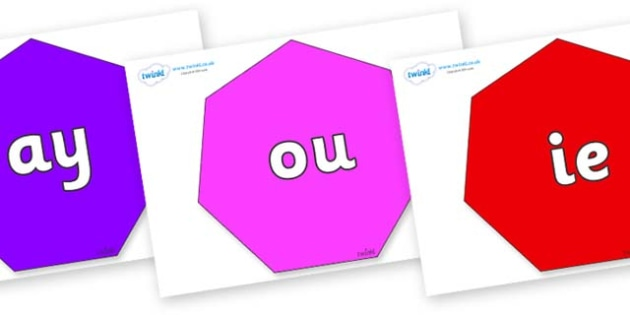 Phase 5 Phonemes on Heptagons - Phonemes, phoneme, Phase 5, Phase five, Foundation, Literacy, Letters and Sounds, DfES, display