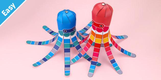 Enkl 3D Swatch Squid Printable - Enkl, arts, crafts, activity, adult, home, decor, designer, designer, decoration, interior, project, printable, cute, simple, paper, models, 3D, shape, colour, geek, clean,swatch,squid