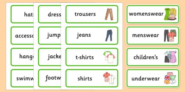 Clothes Shop Labels - australia, Clothes shop Role Play, clothes shop resources, shop, till, buy, money, clothes, ourselves, shoes, role play, display, poster