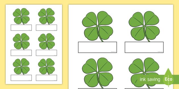 Self Registration (on Clovers) - clovers, leaves, Self registration, register, editable, labels, registration, child name label, printable labels