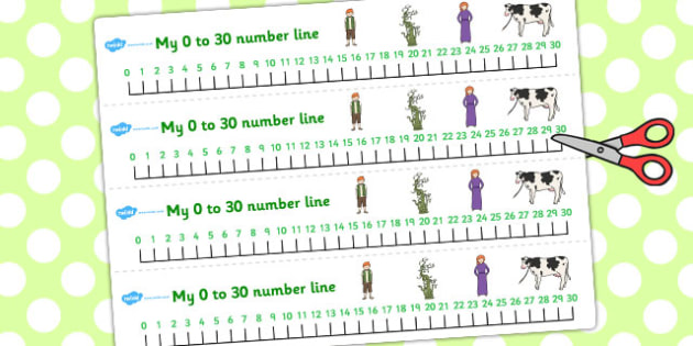 Jack and the Beanstalk Number Lines 0-30 - number line, jack