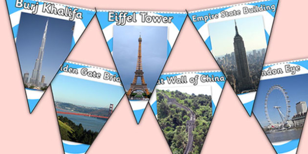 Tourist Attractions Photo Display Bunting - tourist attractions, famous tourist attractions, tourist attractions bunting, tourist attraction photo bunting