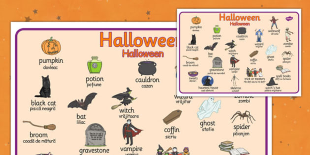 Halloween Word Mat Romanian Translation - romanian, halloween, hallowe'en, word mat, word, mat