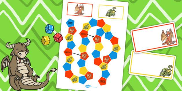 Dragon Themed Editable Board Game - editable, board game, dragon