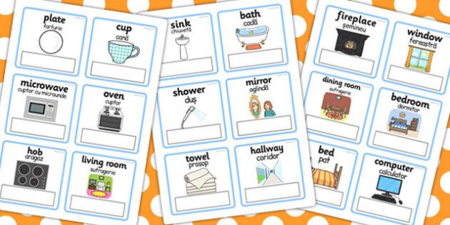 Everyday Objects Home Editable Card Editable Romanian Translation