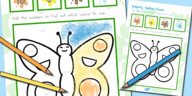 Butterfly Addition Puzzle - australia, butterfly, addition, puzzle