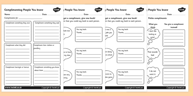 How to compliment People Worksheets - compliment, people, worksheets, compliment people, being nice, sheet to work from, working sheets, emotions