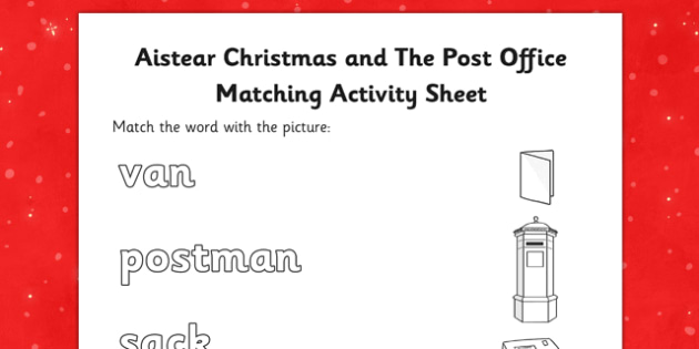 Aistear Christmas and The Post Office Word and Picture Matching Activity Sheet - roi, irish, gaeilge, Matching, Aistear, Word, Picture, The Post Office, worksheet