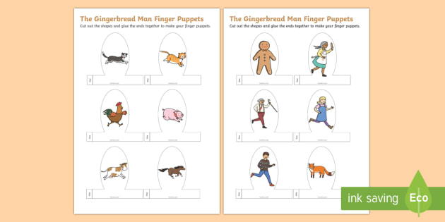 The Gingerbread Man Finger Puppets Puppet Craft Activity