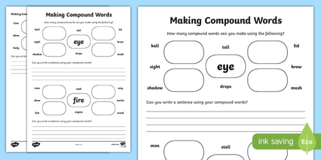 Blended Sounds Worksheets Excel Compound Word Primary Resources Compound Aids  Page  Alphabets Trace Printable Worksheets Pdf with Worksheets On Prepositions For Grade 2 Ks English How Many Compound Words Can You Make Activity Sheet Realtor Tax Deductions Worksheet