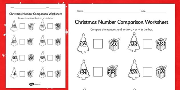 Christmas Number Comparison Worksheet - worksheets, numbers