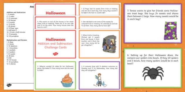 Halloween Themed Maths Challenge Cards