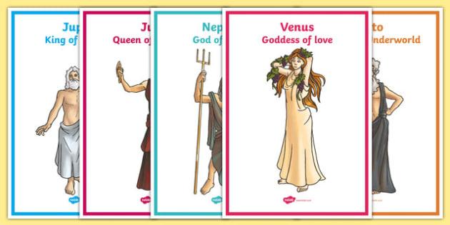 Roman Gods Display Posters - roman, gods, romans, roman gods, display, poster, sign, banner, roman empire, pluto, neptune, apollo, saturn, venus, jupiter