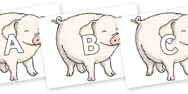 A-Z Alphabet on Wilbur - A-Z, A4, display, Alphabet frieze, Display letters, Letter posters, A-Z letters, Alphabet flashcards