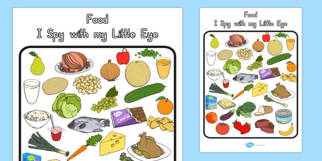 Food Themed I Spy With My Little Eye Activity - australia, food