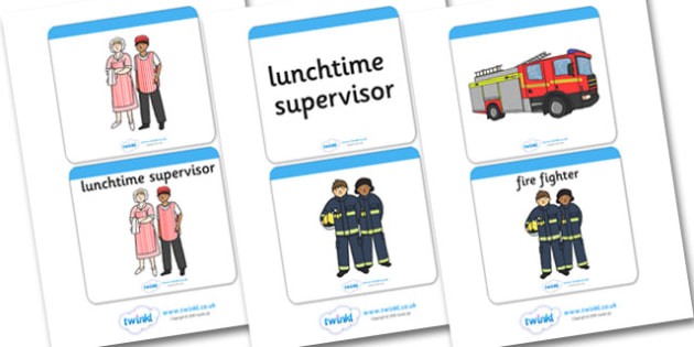 People Who Help Us Matching Cards - People who help us, Display, Matching cards, game, Word cards, Role Play, Doctor, Nurse, Teacher, Police, Fire fighter, Paramedic, Builder, Caretaker, Lollipop, Traffic Warden, Lunchtime supervisor, lunch time assi