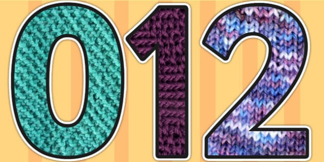 Knitted Material Themed A4 Display Numbers - materials, display