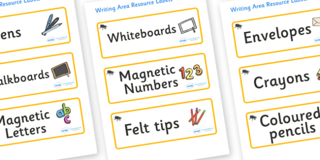 Beetle Themed Editable Writing Area Resource Labels - Themed writing resource labels, literacy area labels, writing area resources, Label template, Resource Label, Name Labels, Editable Labels, Drawer Labels, KS1 Labels, Foundation Labels, Foundation