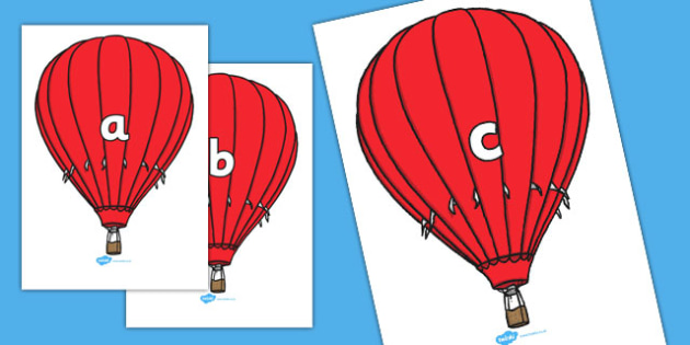 Phase 2 Phonemes on Hot Air Balloons - Phonemes, hot air balloon, phoneme, Phase 2, Phase two, Foundation, Literacy, Letters and Sounds, Alphabet, A-Z letters, Alphabet flashcards, letters and sounds, DfES, display, balloon, balloons