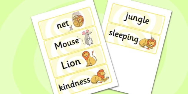 The Lion And The Mouse Word Cards - Lion, Mouse, Word, Cards