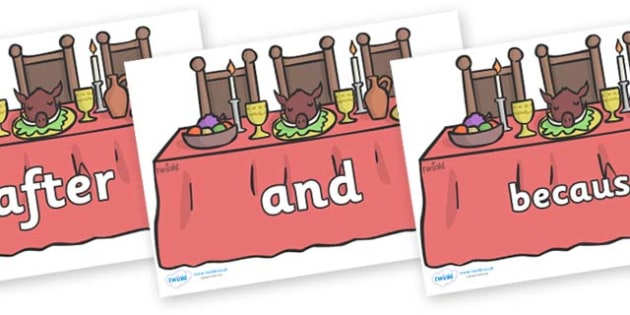 Connectives on Dining Tables - Connectives, VCOP, connective resources, connectives display words, connective displays
