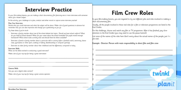 Computing: Film-Making Year 6 Unit Home Learning Tasks