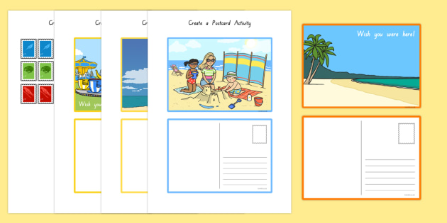 Create a Postcard Activity - nz, new zealand, Postcard, Postcard design, Seaside, fine motor skills, holidays, holiday, water, tide, waves, sand, beach, sea, sun, holiday, coast