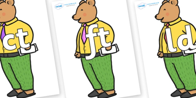 Final Letter Blends on Mr Bear to Support Teaching on The Jolly Christmas Postman - Final Letters, final letter, letter blend, letter blends, consonant, consonants, digraph, trigraph, literacy, alphabet, letters, foundation stage literacy