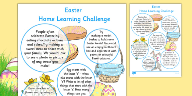 EYFS Easter Home Learning Challenge Sheet Reception FS2 - EYFS planning, early years activities, homework, festival
