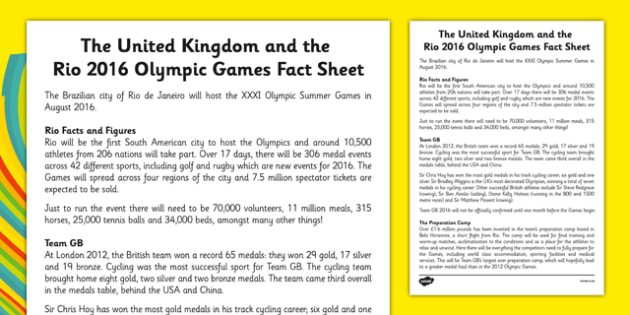 Rio 2016 and Team GB Fact Sheet - Rio, Olympics, 2016, Team GB, United Kingdom, medals, Olympians, Great Britain