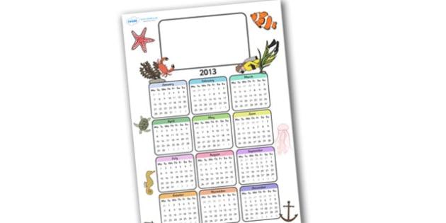 Editable 2013 Calendar Under the Sea - calendar, editable calendar, months of the year, display calendar, under the sea, under the sea calendar, under the sea themed calendar, fish, mermaid, display, display poster, poster, the year, 2013, 2013 calen