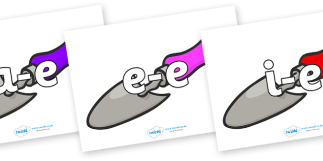 Modifying E Letters on Trowels - Modifying E, letters, modify, Phase 5, Phase five, alternative spellings for phonemes, DfES letters and Sounds