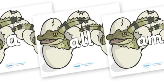Foundation Stage 2 Keywords on Hatching Aligators - FS2, CLL, keywords, Communication language and literacy,  Display, Key words, high frequency words, foundation stage literacy, DfES Letters and Sounds, Letters and Sounds, spelling