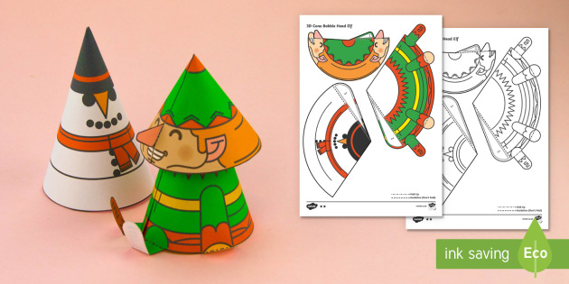 Simple 3D Cone Elf Bobble Head Christmas Activity Paper Craft