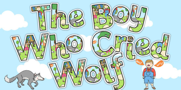The Boy Who Cried Wolf Display Lettering - aesops fables, display